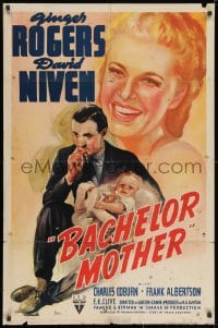 2p061 BACHELOR MOTHER 1sh 1939 David Niven thinks the baby Ginger Rogers found is really hers!
