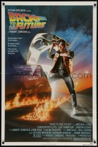 2p063 BACK TO THE FUTURE NSS style 1sh 1985 art of Michael J. Fox & Delorean by Drew Struzan!