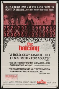 2p064 BALCONY 1sh 1963 Jean Genet's erotic world where men's strange desires are fulfilled!