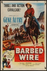 2p066 BARBED-WIRE 1sh 1952 barbed wire & bullets can't stop Gene Autry & Champion!