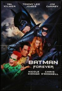 2p069 BATMAN FOREVER int'l advance 1sh 1995 cool image of Jim Carrey as The Riddler!