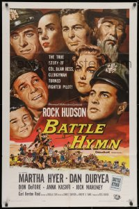 2p070 BATTLE HYMN 1sh 1957 art of Rock Hudson as clergyman turned fighter pilot!