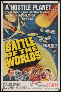 2p071 BATTLE OF THE WORLDS 1sh 1963 cool sci-fi, flying saucers from a hostile enemy planet!