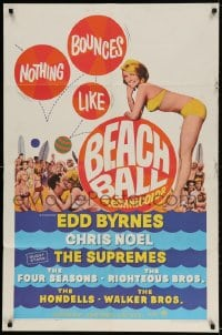 2p072 BEACH BALL 1sh 1965 Edd Byrnes, The Supremes, sexy blonde Chris Noel in bikini!