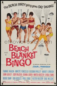 2p073 BEACH BLANKET BINGO 1sh 1965 Frankie & Annette, different, Win Your Own Beach Bunny!