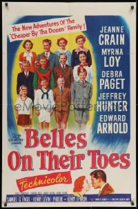 2p078 BELLES ON THEIR TOES 1sh 1952 Jeanne Crain, Myrna Loy, Debra Paget, Jeffrey Hunter!