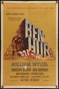 2p079 BEN-HUR 1sh 1960 Charlton Heston, William Wyler classic epic, cool chariot & title art!