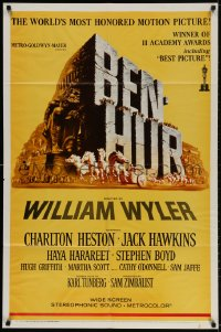 2p080 BEN-HUR 1sh R1969 Charlton Heston, William Wyler classic religious epic, chariot art!