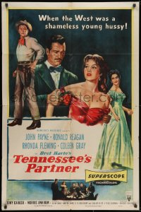 2p883 TENNESSEE'S PARTNER style A 1sh 1955 art of Ronald Reagan & John Payne, sexy Rhonda Fleming!