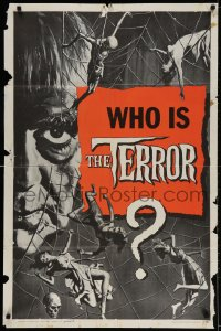 2p885 TERROR style B teaser 1sh 1963 art of Boris Karloff & sexy girls in web by Reynold Brown, Roger Corman