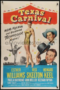 2p886 TEXAS CARNIVAL 1sh 1951 Red Skelton, art of sexy Esther Williams wearing swimsuit!