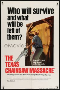 2p887 TEXAS CHAINSAW MASSACRE 1sh 1974 Tobe Hooper cult classic slasher horror, Bryanston!