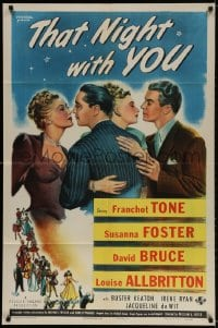 2p888 THAT NIGHT WITH YOU 1sh 1945 Franchot Tone, Susanna Foster, David Bruce, Louise Allbritton!