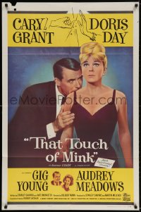 2p889 THAT TOUCH OF MINK 1sh 1962 great close up art of Cary Grant nuzzling Doris Day's shoulder!