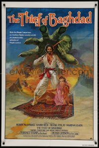 2p893 THIEF OF BAGHDAD 1sh 1979 cool art of top stars on flying carpet + genie!