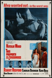 2p896 THIS PROPERTY IS CONDEMNED 1sh 1966 close up of sexy Natalie Wood & Robert Redford in bed!