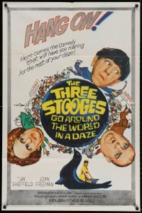 2p898 THREE STOOGES GO AROUND THE WORLD IN A DAZE 1sh 1963 wacky art of Moe, Larry & Curly-Joe!
