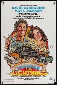 2p899 THUNDER & LIGHTNING 1sh 1977 art of David Carradine & Kate Jackson by Drew Struzan!