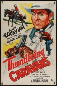 2p901 THUNDERING CARAVANS 1sh 1952 great artwork of cowboy Rocky Lane w/smoking gun & Black Jack!