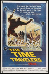 2p903 TIME TRAVELERS 1sh 1964 cool Reynold Brown sci-fi art of the crack in space and time!