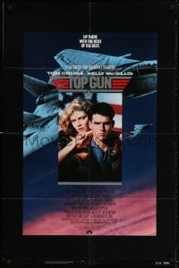 2p905 TOP GUN 1sh 1986 great image of Tom Cruise & Kelly McGillis, Navy fighter jets!