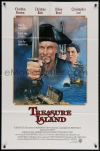 2p910 TREASURE ISLAND int'l 1sh 1990 Charlton Heston as Long John, 16 year-old Christian Bale!