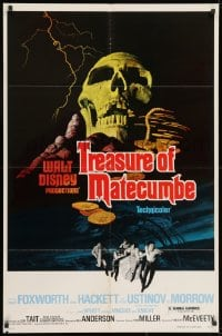 2p911 TREASURE OF MATECUMBE 1sh 1976 Walt Disney, cool artwork of giant skull & gold coins!