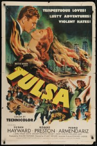 2p918 TULSA 1sh 1949 Susan Hayward, Robert Preston, tempestuous loves, violent hates!