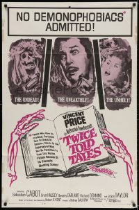 2p920 TWICE TOLD TALES 1sh 1963 Vincent Price, Nathaniel Hawthorne, a trio of unholy horror!