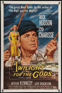 2p921 TWILIGHT FOR THE GODS 1sh 1958 great artwork of Rock Hudson & sexy Cyd Charisse!