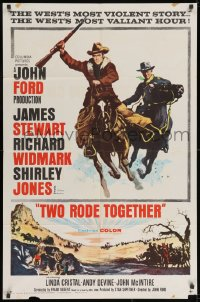 2p923 TWO RODE TOGETHER 1sh 1961 John Ford, art of James Stewart & Richard Widmark on horses!