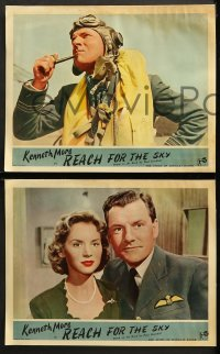 2r286 REACH FOR THE SKY 8 English LCs 1956 cool images of pilot Kenneth More, w/ Muriel Pavlow!
