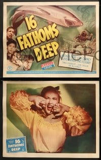 2r027 16 FATHOMS DEEP 8 LCs 1948 Lon Chaney Jr, w/title card art of deep sea diver vs killer shark!