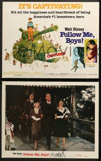 2r019 FOLLOW ME BOYS 9 LCs R1976 Fred MacMurray leads Boy Scouts, young Kurt Russell, Walt Disney!