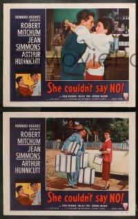 2r312 SHE COULDN'T SAY NO 8 LCs 1954 sexy short-haired Jean Simmons, Dr. Robert Mitchum!
