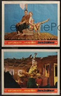 2r451 SOUTH SEA WOMAN 7 LCs 1953 Arthur Lubin, great images of Burt Lancaster & sexy Virginia Mayo!