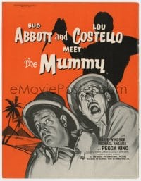 2s018 ABBOTT & COSTELLO MEET THE MUMMY English trade ad 1955 art of Bud & Lou w/monster silhouette!