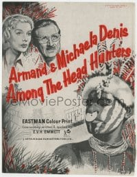 2s020 AMONG THE HEAD HUNTERS English trade ad 1956 art of Armand Denis & wife + African native!