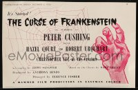 2s025 CURSE OF FRANKENSTEIN 6x8 English trade ad 1957 Hammer, cool art of hand by spider web!