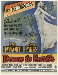 2s026 DOWN TO EARTH English trade ad 1947 full-length image of beautiful Rita Hayworth!
