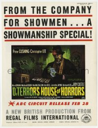 2s027 DR. TERROR'S HOUSE OF HORRORS English trade ad 1965 cool K.T. art of Christopher Lee!
