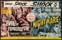 2s030 EVIL OF FRANKENSTEIN/NIGHTMARE English trade ad 1964 two masterpieces of horror in one show!