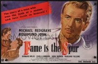 2s032 FAME IS THE SPUR English trade ad 1947 Boulting Brothers, art of Michael Redgrave & John!