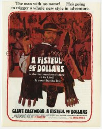2s034 FISTFUL OF DOLLARS English trade ad 1967 Clint Eastwood triggers a new style in adventure!