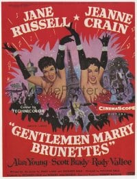 2s037 GENTLEMEN MARRY BRUNETTES English trade ad 1955 art of sexy Jane Russell & Jeanne Crain!