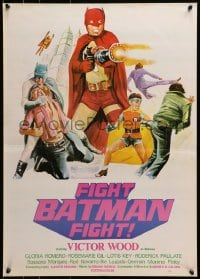 2t008 FIGHT BATMAN FIGHT Filipino poster 1973 different art of Victor Wood in the title role!