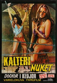 2t036 BARBED WIRE DOLLS Finnish 1975 Jesus Franco, art of sexy near-naked female prisoners!
