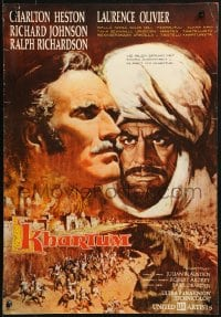 2t037 KHARTOUM Finnish 1966 Frank McCarthy art of Charlton Heston & Laurence Olivier!
