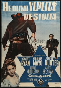 2t039 PROUD ONES Finnish 1956 Robert Ryan, Virginia Mayo, Jeffrey Hunter, cool art of gun & badge!