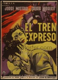 2t032 EL TREN EXPRESO Mexican poster 1955 Jorge Mistral, Laura Hidalgo, cool train artwork!
